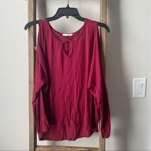 Red cold shoulder top with cross front